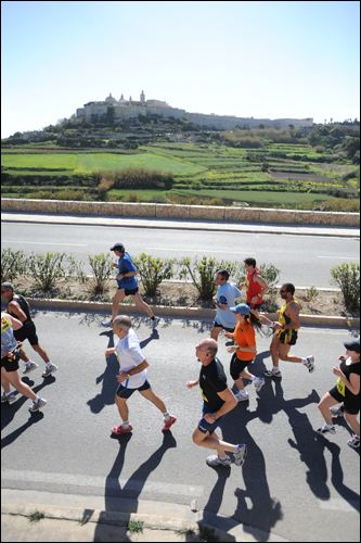 Mtarfa (Mdina start in the background), 4km into the Full and Half Marathons