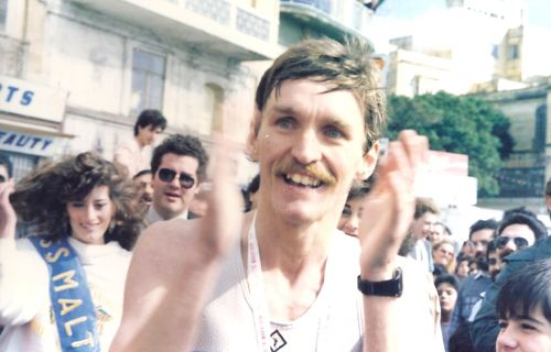 John Walsh as usual applauding and encouraging all athletes at the finish of the first Malta Marathon in 1986.