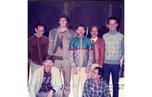 Squatting from left John Walsh and Peter Borg Costanzi. Standing from left Edwin Attard, Joe Micallef, Ron Hill - 1986 Malta Marathon special guest, Charles Cioffi and Joe Farrugia
