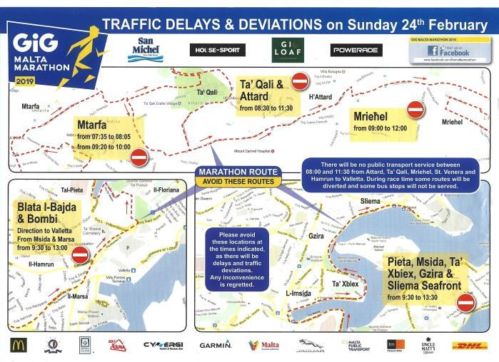 2019 Malta Marathon Traffic Deviations